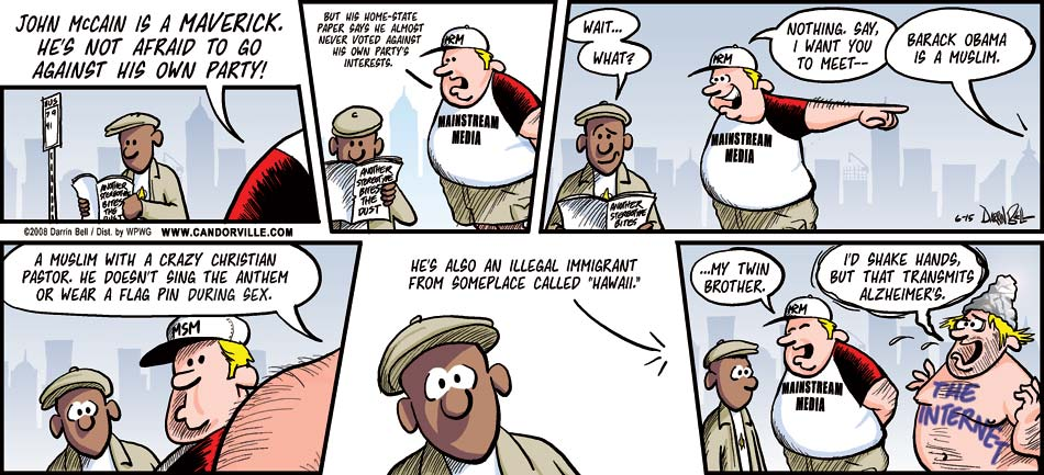 Candorville: 6/15/2008- The Maverick and the Muslim